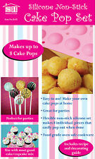 NEW SET OF 8 SILICONE CAKE POP MOULDS, MAKE 8 CAKE POPS, RECIPE BOOK INCLUDED