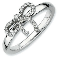 Silver Stackable 2.25 mm Bow Ring & Diamonds, Rhodium-plated QSK330