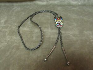 Signed Jose Bowannie Zuni Native American Indian Bolo Tie Sterling Silver Inlay