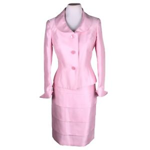 KASPER Women 2 PC Stunning Rose Tiered Polyester Lined Skirt Suit Size 4