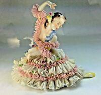 "Vintage  Large Dresden Volkstedt ""The Ballarina"" Porcelain Lace Figurine Germany"