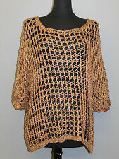 IMAGINE HOLEY KNIT CROCHET PULLOVER SEE THROUGH BLOUSE SWEATER BRWN O/S 24 $249