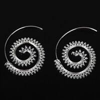 Women Charm Circles Round Spiral Tribal Hoop Earrings Ear Stud Piercing Jewelry