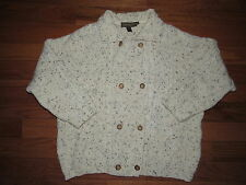 Inis Crafts Double Breasted Aran Fishermans Wool Cardigan Sweater L womens