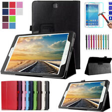 Smart PU Leather Slim Book Case + Tempered Glass For Samsung Tab 3/Tab 4/  Tab E