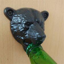 New Black Bar Retro Cast Iron Bear Head Shaped Hang Wall Mounted Bottle Opener