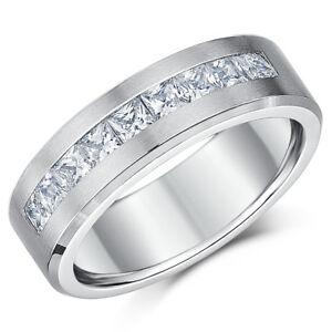 8mm Men's Titanium Engagement Ring Fine Brushed Matt Eternity Ring