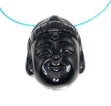 36X27MM BLACK AGATE GEMSTONE BLACK CARVED BUDDHA HEAD LOOSE BEADS 2 BEADS