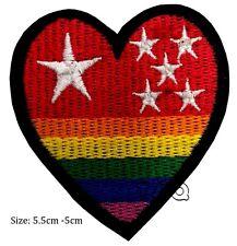 heart iron on patch badge star colour rainbow fine cute # 135