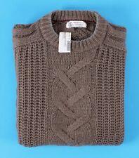 $1895 NWT BRUNELLO CUCINELLI 100% CASHMERE - ARAN FISHERMAN Sweater - THICK - M