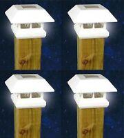 4 White New Outdoor Garden Solar Panel Post Deck Cap Light