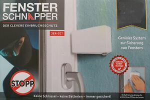 Fenster Schnapper 3er Set der clevere Einbruchschutz / Fenstersicherung NEU OVP