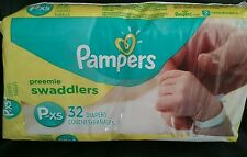 PAMPERS PREEMIE SWADDLERS P- XS DIAPERS   32CT - FOR MICRO BABIES ,REBORN DOLLS