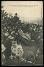 1918 Postcard WWI Metz, Toppled Kaiser Wilhelm Statue & Marshal Philippe Pétain