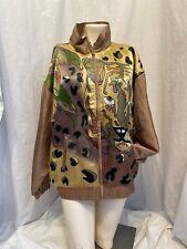 New listing Vintage 80s Mureli Silk Track Jacket Medium Animal Print Lion Jacket M