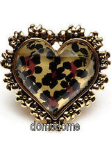 NEW Betsey Johnson Gold Tone Leopard Heart One Size Stretch Ring NWT
