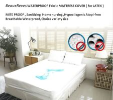 BeauxReves WATERPROOF Fabric MATTRESS COVER For LATEX Matt MITE Allegy PROOF