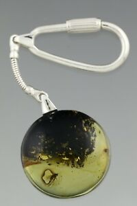 2 Fossil Insect FLIES Genuine BALTIC AMBER Silver KEYRING KEYCHAIN 9.2g 210127-1