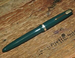 Vintage Green Single Jewel PARKER MAXIMA #50 14K Gold Nib Fountain Pen England