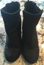 Old Navy Womens Size 6 Black Faux Suede Wedge Ankle Boots