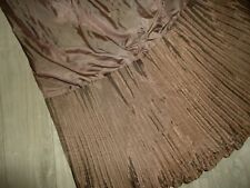 """VICTORIA CLASSICS PLEATED BROWN CRINKLED QUEEN BEDSKIRT SPLIT 14"""" POLYESTER"""