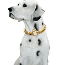 Small Gold Dog Collar Stainless Steel Cuban Chain Chokers For Poodles Pomeranian