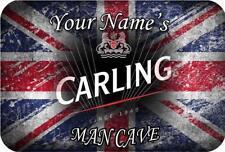 Personalised Custom Print Metal Plaque Man Cave Union Jack Carling Door Sign A4