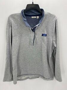 L.L. Bean Womens Petite XL Gray Long Sleeve 1/4 Button Up Pullover