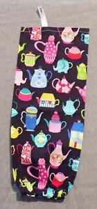 "Handmade Cloth Plastic Bag Holder ""Black with Tea Pots"" Storage 16"" long"
