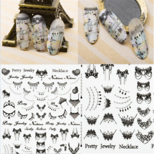 Black 3D Nail Art Stickers Tattoos Lace Necklace Manicure Decals Decor Tips DIY
