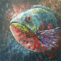 Abstract 100%Hand-painted Art Oil Painting Animal fish 16*16inch  canvas