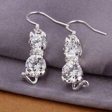 925 Sterling Silver Drop Dangle Hook Earrings Blue Zirconia L58