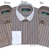 Patraque oeillères Homme Penny col bleu rouge Pin Stripes shirt Round club vintage