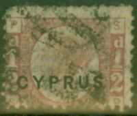 Cyprus 1880 1/2d Rose SG1 Pl 19 Fine Used Royal Cerficate
