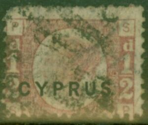 Cyprus 1880 1/2d Rose SG1 Pl 19 Fine Used Royal Cerficate
