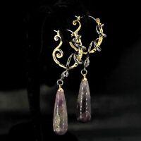 Earrings Sleeper Ring Gold Plated Purple Amethyst Snake Drop QD3