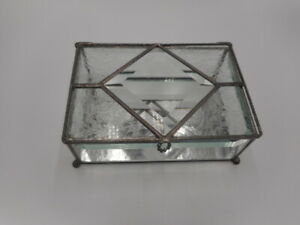 Stained Beveled Frosted Clear Glass Jewelry Trinket Vanity Box Etched Hinged