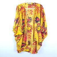 VTG KALIDAZ womens One Size Yellow Orange Open Front Dolman Boho Kimono cover up