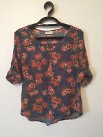 Bobbie Brooks Tunic Sheer Floral Top Blouse Heather Blue Multi Womens Size L