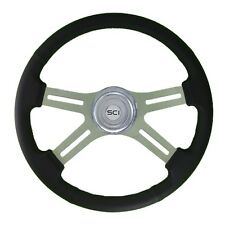 "18"" Black Leather 4 Spoke Classic Steering Wheel for Freightliner, Peterbilt,KW"
