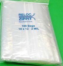 """ZIPLOCK BAGS LARGE 10"""" x 12"""" CLEAR 2 MIL ZIP RECLOSABLE 100 BAGS ZIPPIT RELOC"""