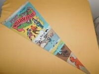 """VINTAGE 1960-70S  SOUVENIR PENNANT 29 1/2"""" FORT WILLIAM HENRY LAKE GEORGE NY"""