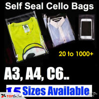Garment bags clear cellophane plastic self seal packaging T-Shirts clothes