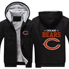 HOT Chicago Bears Fans Hoodie Fleece zip up Coat winter Jacket warm Sweatshirt