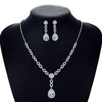 Crystal CZ Cubic Zircon Bridal Wedding Y Necklace Earring Set Girl Jewelry Sets