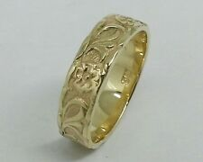 R031-> Genuine 9ct SOLID Yellow Gold Blossom Embossed Wedding BAND Ring size L