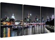 Cheap London Skyline at Night Canvas Art 3 Panel for your Living Room