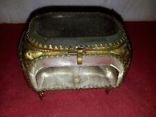 Ancienne boîte à bijoux en verre à pans coupés de style Napoléon III
