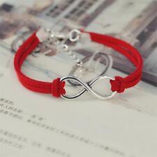 Silver Plated Infinity Red Velvet Leather Rope Bracelet Birthday Gift