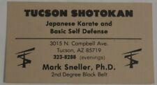 Tucson Shotokan Japanese Karate Vintage Business Card Tucson Arizona